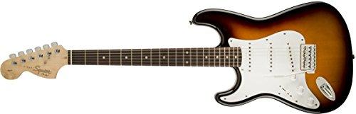 Squier by Fender Affinity Stratocaster Beginner Electric Guitar - Left Handed - Rosewood Fingerboard, Brown Sunburst (Strat 3 Sunburst Tone)