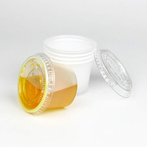 2f57bb0796e [250 Pack] 1 Ounce BPA-Free Plastic Portion Cup with Clear Lids Disposable  Jello Shots Sauce Condiment Souffle Dressing Mini Containers