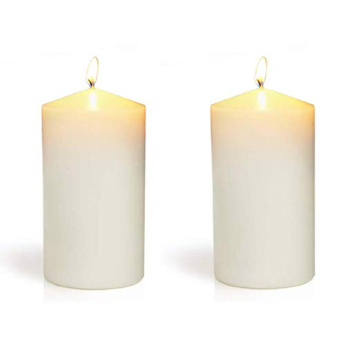 YIHANG Ivory Pillar Candles - Set of 2 Unscented Candles - 6 inch Tall, 3 inch Thick - 40 Hour Clean Burn Time