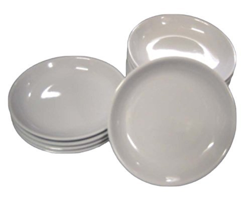 Small Side Plate (Melamine Plastic Soy Dipping Sauce Dishes, White, Small, Pack of 10, 3.5