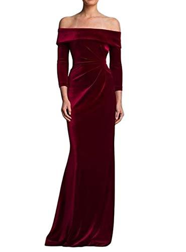 TTYbridal Off Shoulder Evening Dresses Long Velvet Bridesmaid Gown Wedding Party Dress V4 Burgundy 2