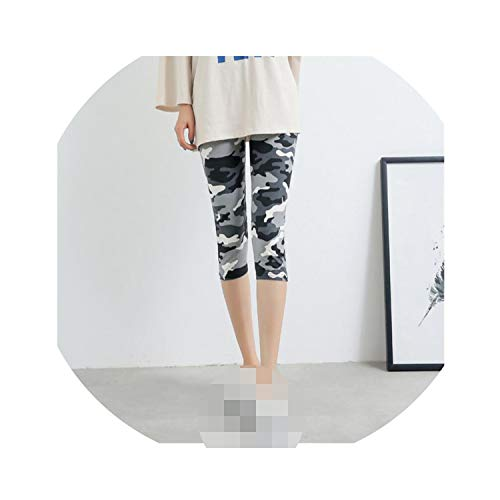 - Knee Length Print Leggings for Cropped Floral Skull Legging Elastic Waist Push Up Leggins,White Gray camo
