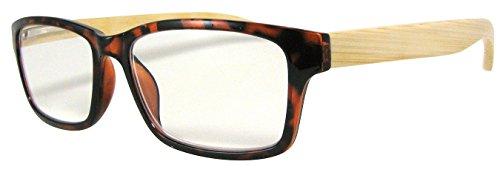 Mens Womens Reading Glasses Tortoise Shell Frames Bamboo Temples, Strength - Shell Tortise Glasses