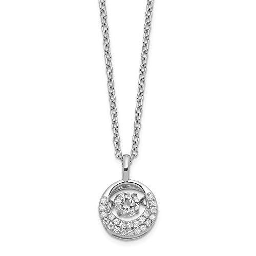 Jewelry Necklaces CZ Cheryl M Sterling Silver Moving Brilliant-cut CZ Circle ()