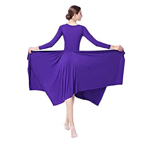 Asimmetrico Lunga Donna Ginnastica Balletto Costume 003 Combinazione Vestito Classico Danza Abito Viola Manica Obeeii Da Liturgico q8IXx5wz