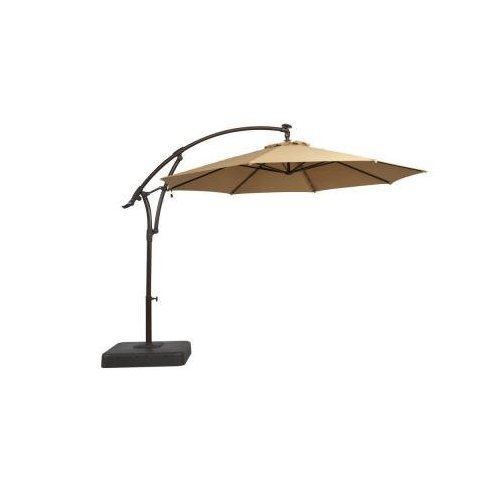 Cheap 11 ft. Offset LED Patio Umbrella in Tan