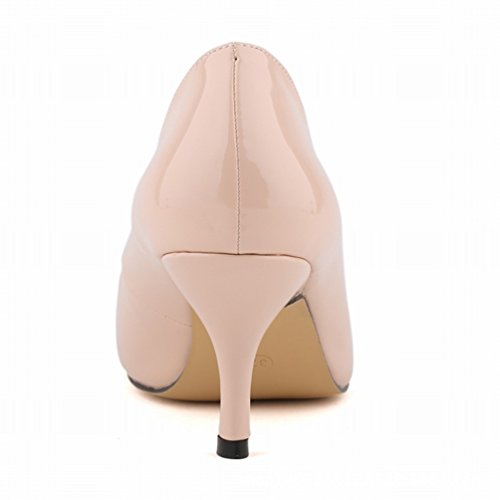 Shallow Work Stiletto Pumps Femme Talons Pointed Mouth Bureau Femmes Abricot Heel WanYang Toe vBY6tq