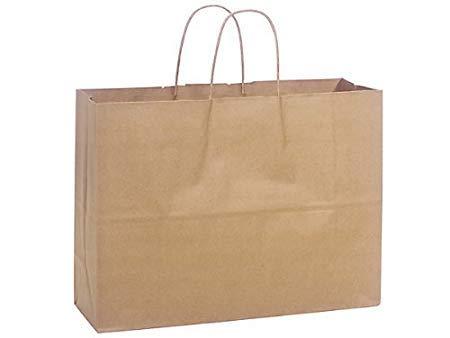 Natural Paper Bag - 250pcs Kraft Paper Shopping Bag,16 x 6 x 12 1/2
