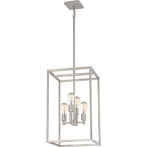 "Quoizel NHR5204BN New Harbor Wood Island Chandelier, 4-Light, 240 Watts, Brushed Nickel (24"" H x 14"" W)"