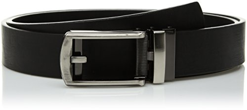 Comfort Click Men's Adjustable Perfect Fit Waxed Leather Belt - As Seen On Tv, black/black/brushed gunmetal, One Size Extended (Belt Leather Simulated)