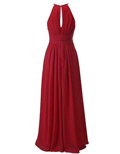 Alagirls Des Femmes De Robes De Demoiselle D'honneur En Mousseline De Soie Licol Longues Robes De Mariage Bordeaux Invités