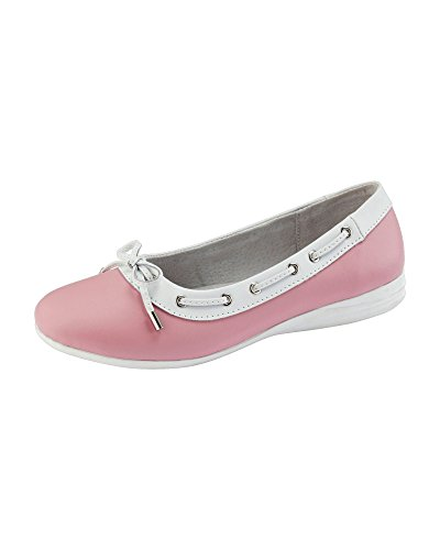 Cotton Traders Womens Ladies Casual Leather Slip-on Bow Detail Comfort Shoes Pink eFrBYxRSH