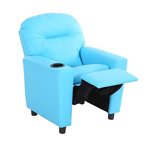 COSTWAY HW56509NY Contemporary Kids Recliner, PU Leather Lounge Furniture for Boys & Girls W/Cup Holder, Children Sofa Chair (Blue)