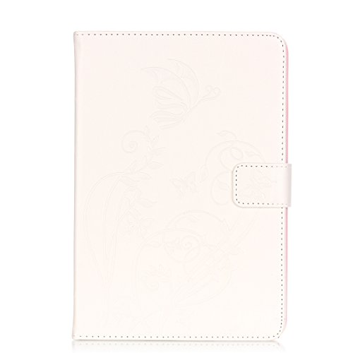 IPAD Mini 4 Case, Butterfly Flowers Embossed Case, Solid Color PU Leather Case Flip Stand Case with Cash Card Holders Detachable Case for IPAD Mini 4 Clear case (Color : White-IPad MINI4)