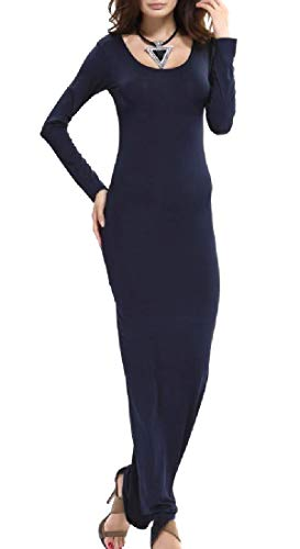 Blue Color Dance Pencil Long Dark Sleeve Party Women Solid Dress Coolred IqHv7wH