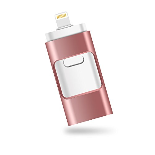 iPhone Lightning Flash Drive 32GB [3-in-1], E&jing USB 3.0 External Storage Memory Stick Adapter Expansion for iPad/iPod/Mac/Android/PC/iOS.(Rose Gold) [Apple MFI Certified]