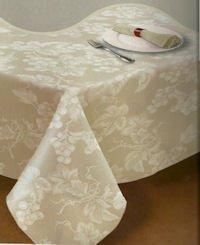 (Ivory Grapevine Vinyl Tablecloth (52x52)