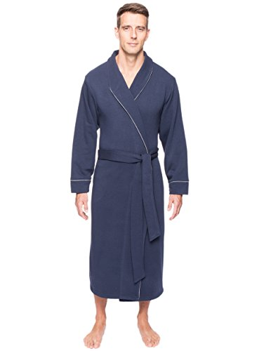 Men's Fleece Lined French Terry Robe - Navy - L/XL (Male Robes)