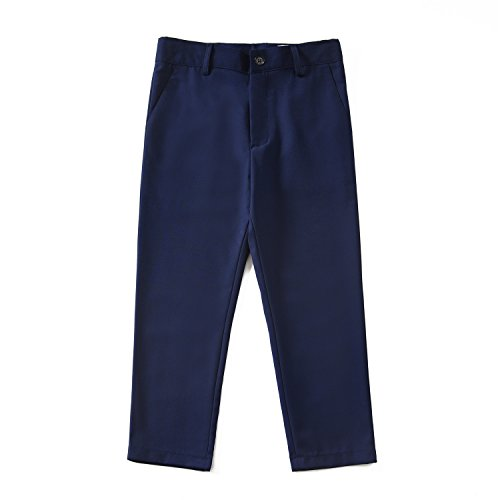 Yuanlu Formal Boys Dress Pants for Toddler Kids with Adjustable Waist Blue Size 2T