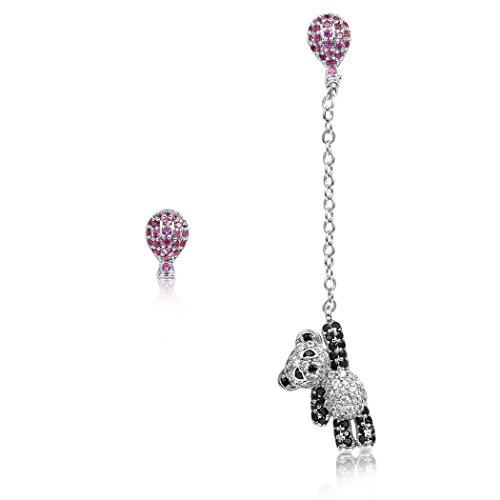 Cute Bear Earrings Asymmetrical Panda Earrings Crystal Lovely Stud Earrings Balloon Dangle - Earrings Bear