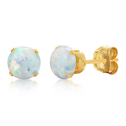 Over Gold Stud Silver (Round 5mm Fire & Snow White Simulated Opal Stud Earrings - 14k Gold over Sterling Silver .925)