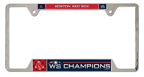 (Stockdale Boston Red Sox 2018 World Series Champions Metal Chrome Frame License Plate Tag Cover Baseball)