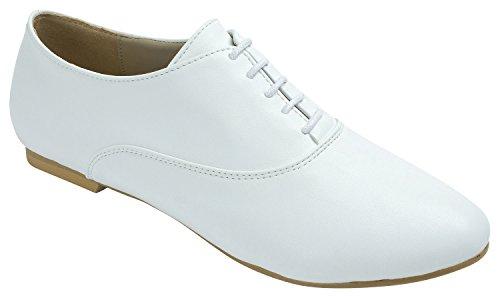 Kara AnnaKastle Womens Lace UP Oxford Flat Shoes (US 8, White)