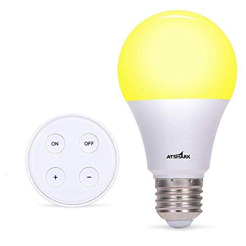 A19 Dimmable LED Light Bulb with Remote Controller - Atshark LED Bulbs 900 Lumen, E26 Base, 10 W (75 W Equivalent), 10 Dimming Levels, 3 Color Temperature from Warm to Cold Light