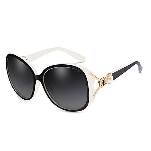 NUBAO Sunglasses Female Polarized Sunglasses Female UV Face Long Face Square Face Elegant Sunglasses Women Outdoor Travel Beach Rest Essential (Color : Black and white) (Was Sonnenbrille)