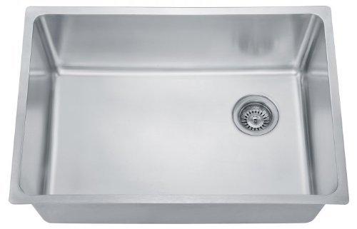 Dawn DSU2517 Undermount Single Bowl Sink with Rear Corner Drain, Polished Satin by Dawn by Dawn