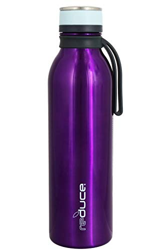 reduce COLD-1 Stainless Steel Vacuum Insulated Hydro Pro Bottle with Nonslip Rubber Base, 28oz - Tasteless and Odorless (Purple w/Pale Blue Accents)