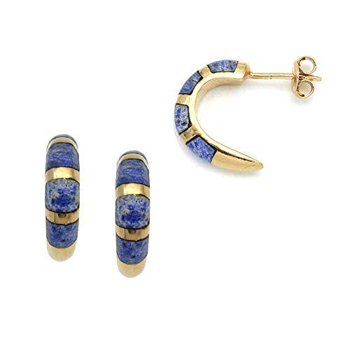 3 micron 18 Carat gold plated hoop mosaic lapis lazuli earring 227S112L