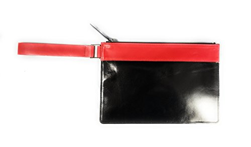 Giggle New York CHLOE Leather Clutch Wristlet Bag (Red/Black) - Chloe Red Leather Handbag