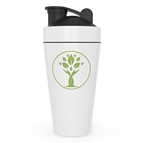 Large Stainless Steel Shaker Bottle - Non Plastic, BPA Free, and Eco-Friendly - Ideal as a Water Bottle and Shaker Cup - Easy to Mix Protein Shakes and Powder Before - Steel Plastic Shaker