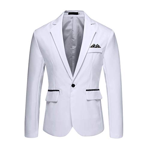 Outwear Coat Suit Tops Premium Classic Fit Suit Stylish Casual Solid Blazer Business Wedding Party Men's (XXL,11#White)