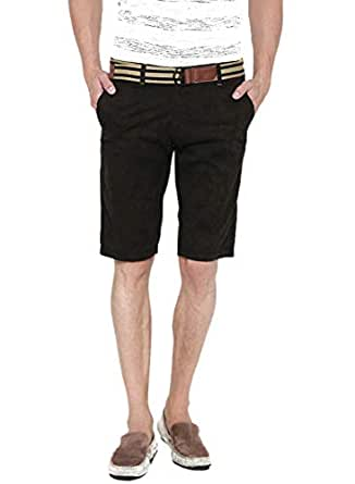 Fifty Two Dark Brown Flat Front Short For Men