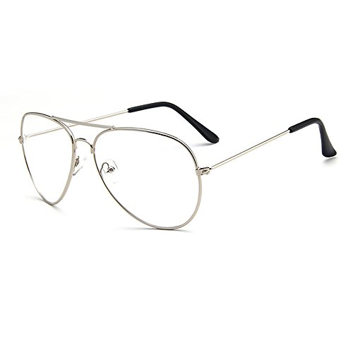 Fashion Unisex Retro Pilot Aviator Eyeglasses Metal Frame Clear Lens Glasses - - Pilots Used By Sunglasses