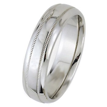 Wedding Bands; Platinum Men`s and Women`s Dome Park Ave Wedding Bands 7mm Wide Comfort Fit