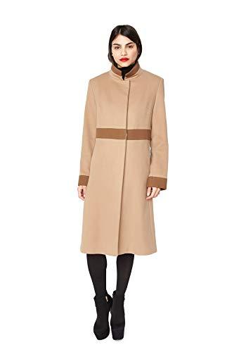 "436 Camel Loro Piana 100% Cashmere with Dark Camel Cashmere Trim 41"" Slightly Shaped Coat ()"