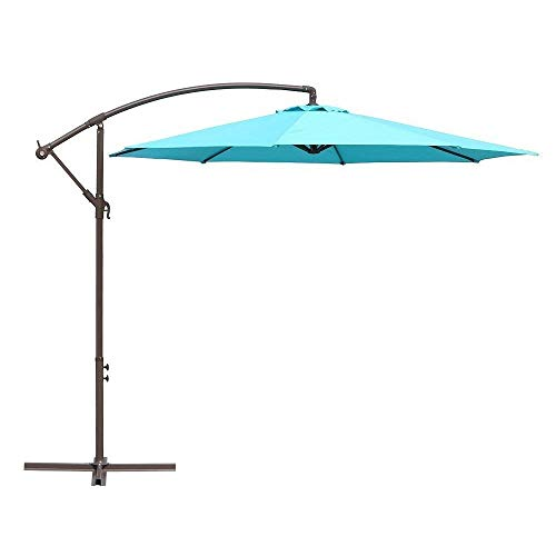 Le Papillon 10 Ft Offset Hanging Patio Umbrella Aluminum Outdoor Cantilever  Umbrella Crank Lift, Blue