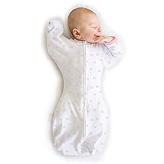 Amazing Baby Transitional Swaddle Sack with Arms Up Half-Length Sleeves and Mitten Cuffs, Tiny Bows, Pink, Small, 0-3 Months (Parents' Picks Award Winner)
