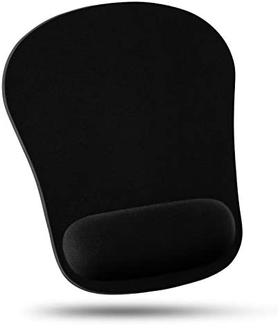 Quality Selection Comfortable Wrist Rest Memory Foam Mouse Pad, with Cushion Wrist Support & Pain Relief for Computer, Laptop, Home & Office Non-Slip Rubber Base (Black)