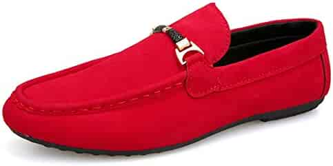 bbc9193a01d Men s Shoes Driving Loafer for Men Lightweight Boat Moccasins Slip On Style  Microfiber Leather Metaldecor Round