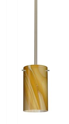 Besa Lighting 1TT-4404HN-SN 1X50W E12 Stilo 7 Pendant with Honey Glass, Satin Nickel Finish