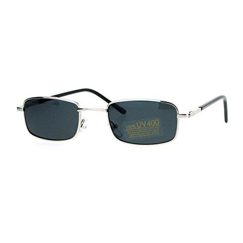 SA106 Spring Hinge Mens Snug Narrow Rectangular Metal Rim Sunglasses - Sunglasses Narrow Rectangular