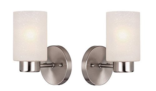 Westinghouse 6227800 Sylvestre One-Light Interior Wall Fixture, Brushed Nickel Finish with Frosted Seeded Glass - Pack of 2 Brushed Nickel Indoor Wall