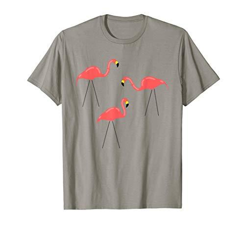 Ornaments Tee - 3 Retro Flamingos Plastic Pink Lawn Yard Ornaments T-Shirt