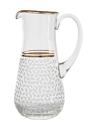 Pattern Gold Trim - Glazze Crystal Handcrafted Water Pitcher with Hand Painted 24K Gold Trim Detailing - Hand Cut Raindrops Pattern - Ideal Wedding & Housewarming Gift - 10
