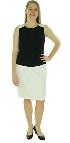 Lauren Ralph Lauren Women's Two Toned Stretch Crepe Dress 6 White/Black (Ralph Lauren-objektive)