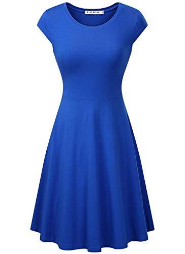 HIKA Women's Casual Cap Sleeve Round Neck Flared A-line Midi Dress (X-Large, Blue)